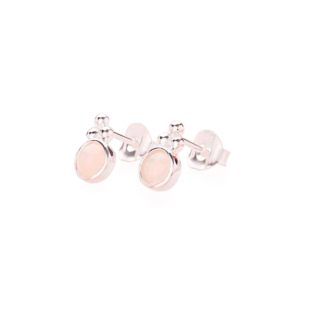 Silver Opal Dot Stud Earrings